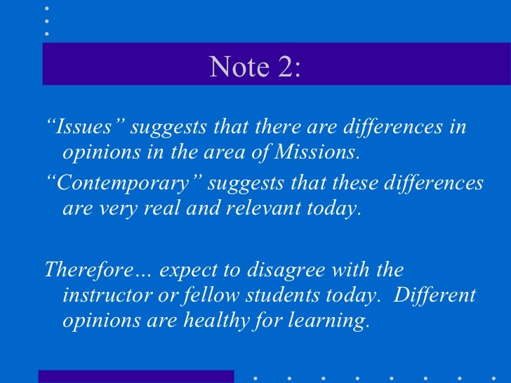 Contemporary issues in missions 1 Slide 3