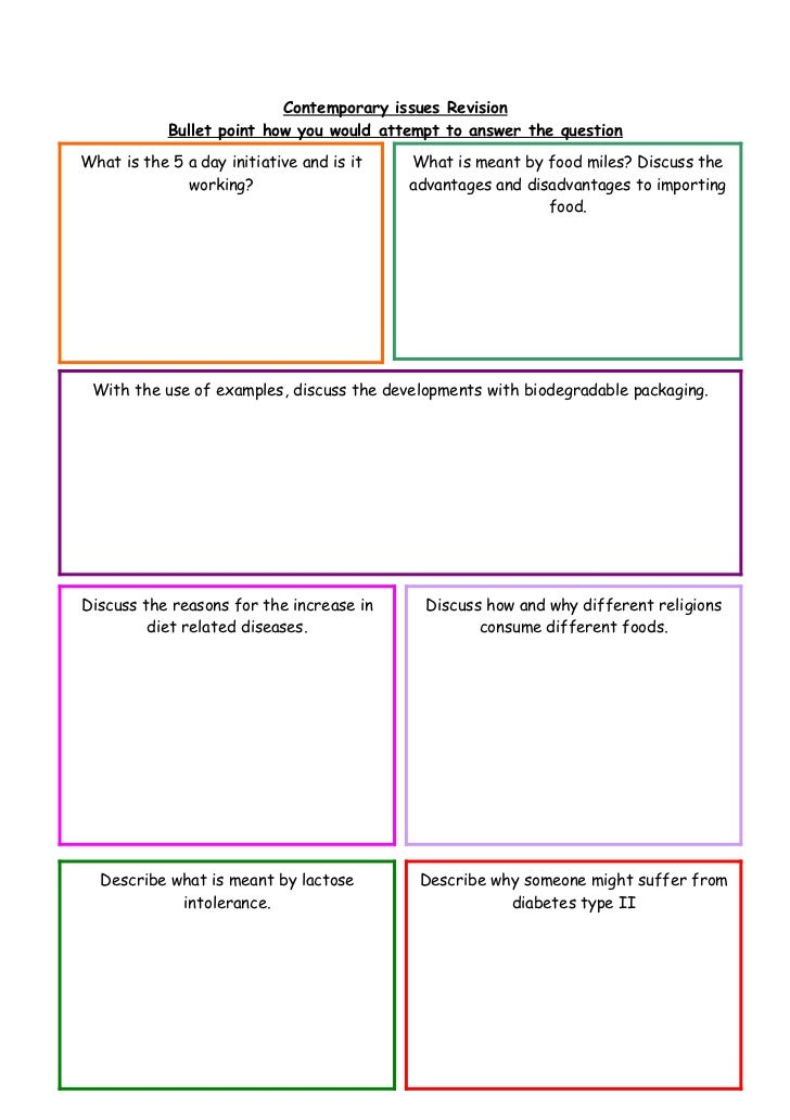 Contemporary issues Revision            Bullet point how you would attempt to answer the questionWhat is the 5 a day initi...