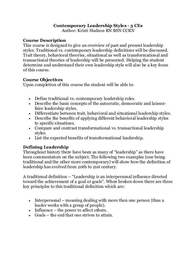 Contemporary issues in nursing leadership in nursing practice nursing essay