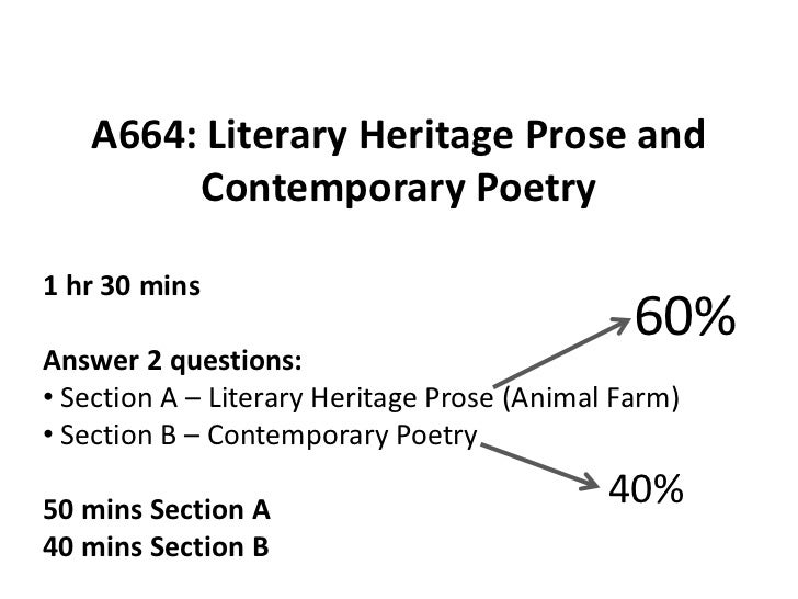 A664: Literary Heritage Prose and        Contemporary Poetry1 hr 30 mins                                               60%...
