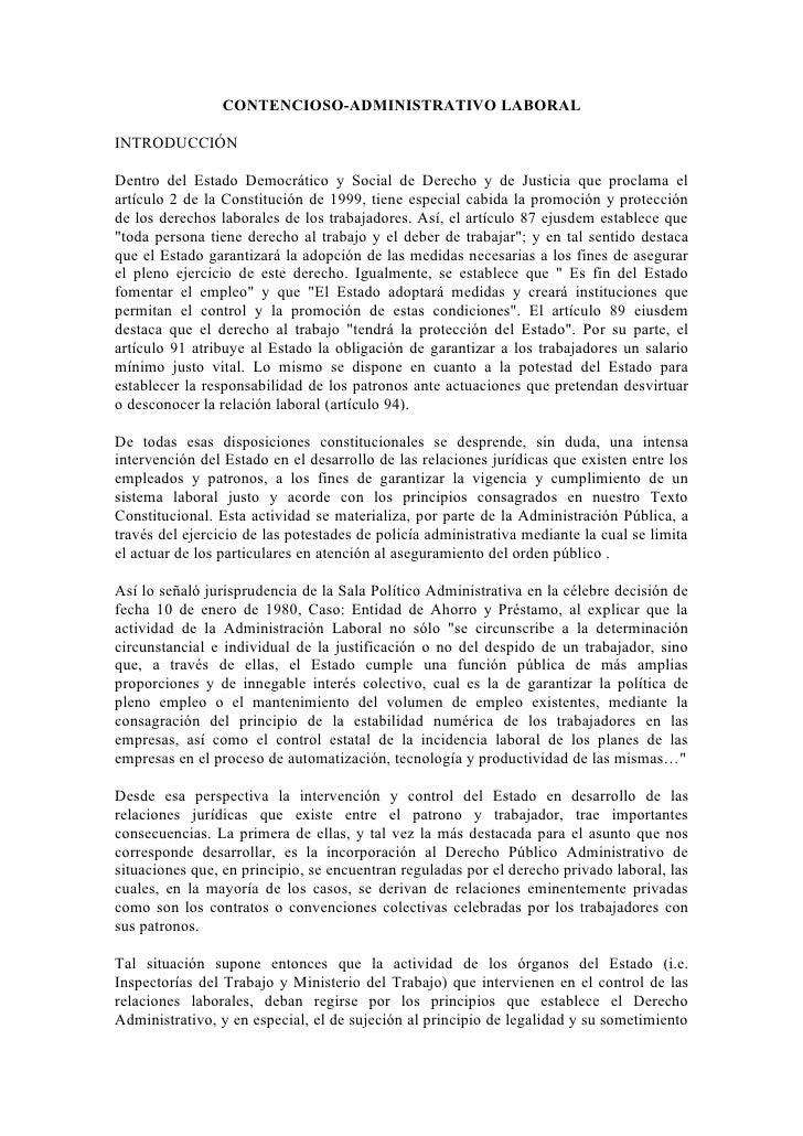 CONTENCIOSO-ADMINISTRATIVO LABORALINTRODUCCIÓNDentro del Estado Democrático y Social de Derecho y de Justicia que proclama...