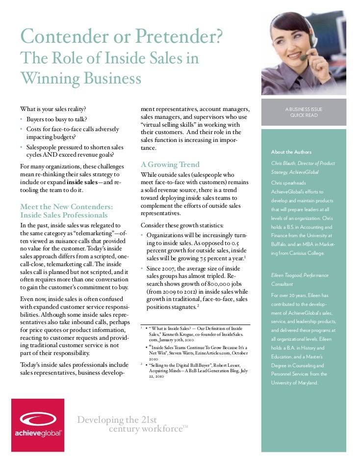 Contender or Pretender?The Role of Inside Sales inWinning BusinessWhat is your sales reality?                      ment re...