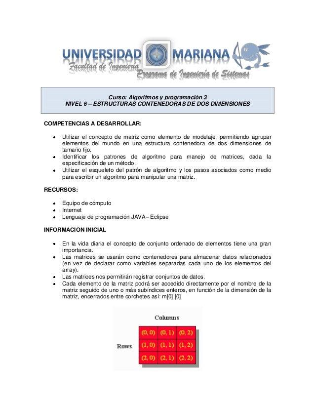 Curso: Algoritmos y programación 3 NIVEL 6 – ESTRUCTURAS CONTENEDORAS DE DOS DIMENSIONES  COMPETENCIAS A DESARROLLAR: Util...