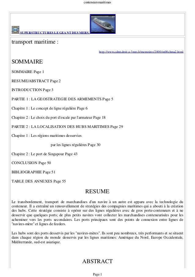 conteneursmaritimes SUPERSTRUCTURES LE GEANT DES MERS. transport maritime : http://www.cdmt.droit.u-3mrs.fr/memoires/2000/...