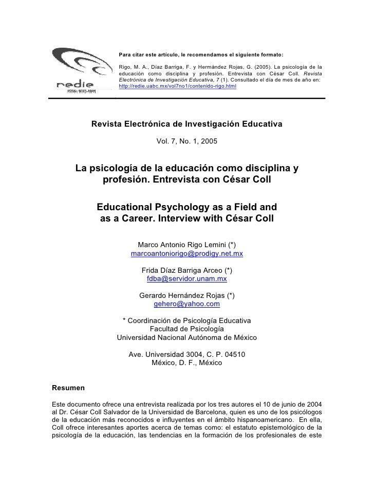 Para citar este artículo, le recomendamos el siguiente formato:                        Rigo, M. A., Díaz Barriga, F. y Her...
