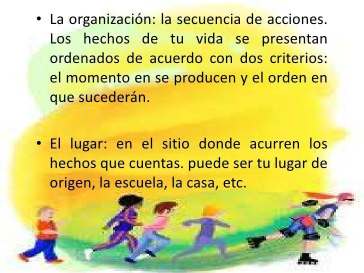 La organización: la secuencia de acciones. Los hechos de tu vida se presentan ordenados de acuerdo con dos criterios: el m...