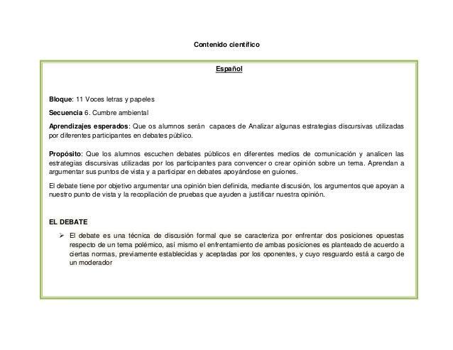 Contenido científico  Español  Bloque: 11 Voces letras y papeles Secuencia 6. Cumbre ambiental Aprendizajes esperados: Que...