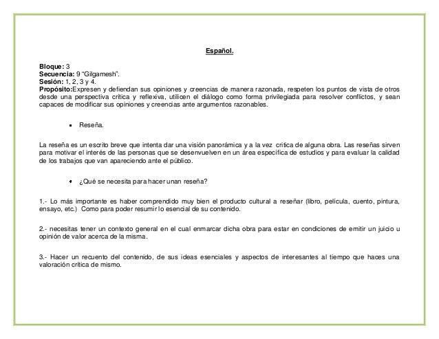 """Español. Bloque: 3 Secuencia: 9 """"Gilgamesh"""". Sesión: 1, 2, 3 y 4. Propósito:Expresen y defiendan sus opiniones y creencias..."""