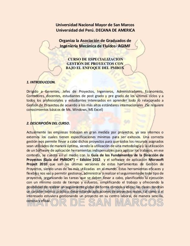 Universidad Nacional Mayor de San Marcos Universidad del Perú. DECANA DE AMERICA Organiza la Asociación de Graduados de In...
