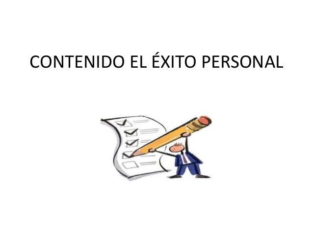 CONTENIDO EL ÉXITO PERSONAL