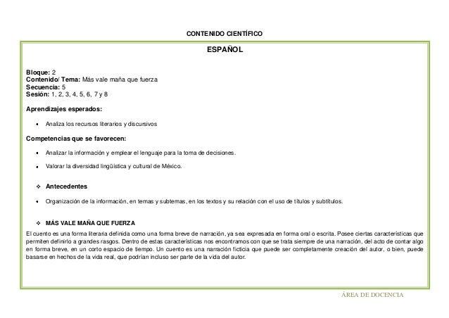 CONTENIDO CIENTÍFICO  ESPAÑOL Bloque: 2 Contenido/ Tema: Más vale maña que fuerza Secuencia: 5 Sesión: 1, 2, 3, 4, 5, 6, 7...