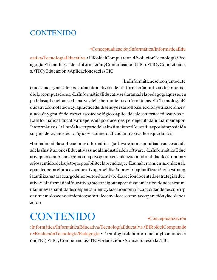 CONTENIDO FORMATICAENLAE                      INDUCACION•Conceptualización:Informática/InformáticaEducativa/TecnologíaEduc...