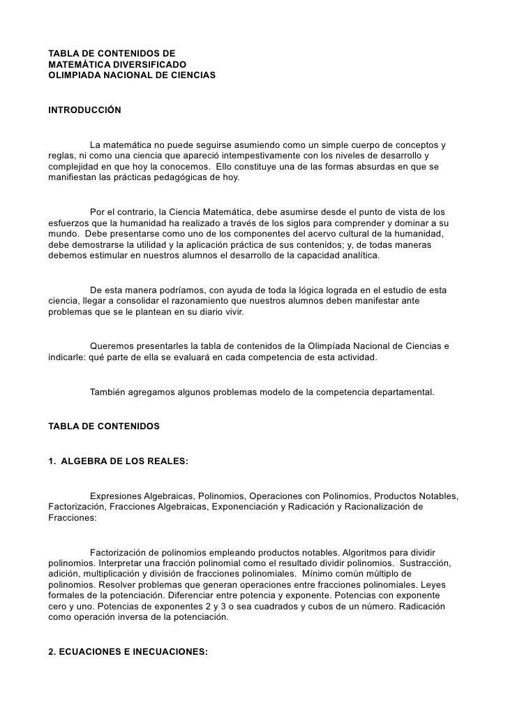 TABLA DE CONTENIDOS DE MATEMÁTICA DIVERSIFICADO OLIMPIADA NACIONAL DE CIENCIAS   INTRODUCCIÓN              La matemática n...