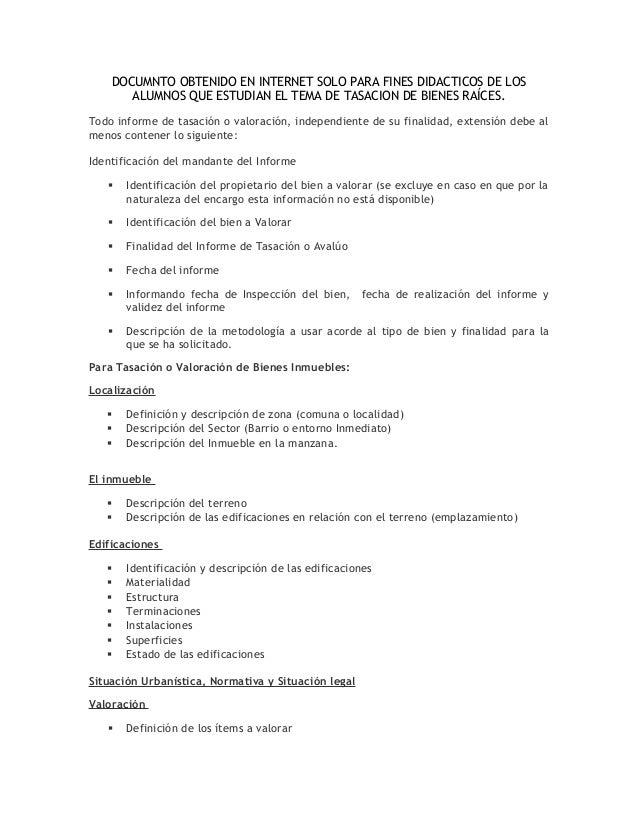 DOCUMNTO OBTENIDO EN INTERNET SOLO PARA FINES DIDACTICOS DE LOS ALUMNOS QUE ESTUDIAN EL TEMA DE TASACION DE BIENES RAÍCES....