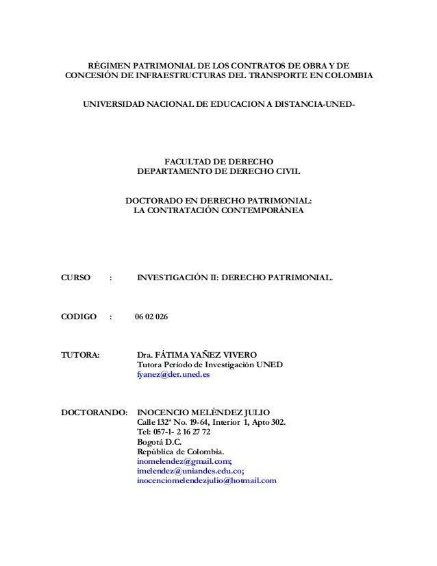 RÉGIMEN PATRIMONIAL DE LOS CONTRATOS DE OBRA Y DECONCESIÓN DE INFRAESTRUCTURAS DEL TRANSPORTE EN COLOMBIA   UNIVERSIDAD NA...