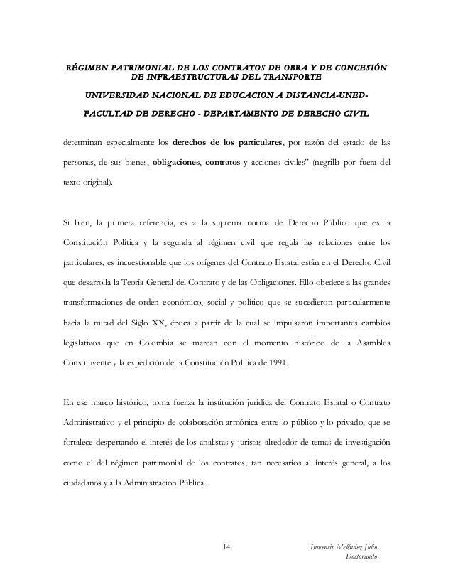 RÉGIMEN PATRIMONIAL DE LOS CONTRATOS DE OBRA Y DE CONCESIÓN           DE INFRAESTRUCTURAS DEL TRANSPORTE       UN IV ERSID...