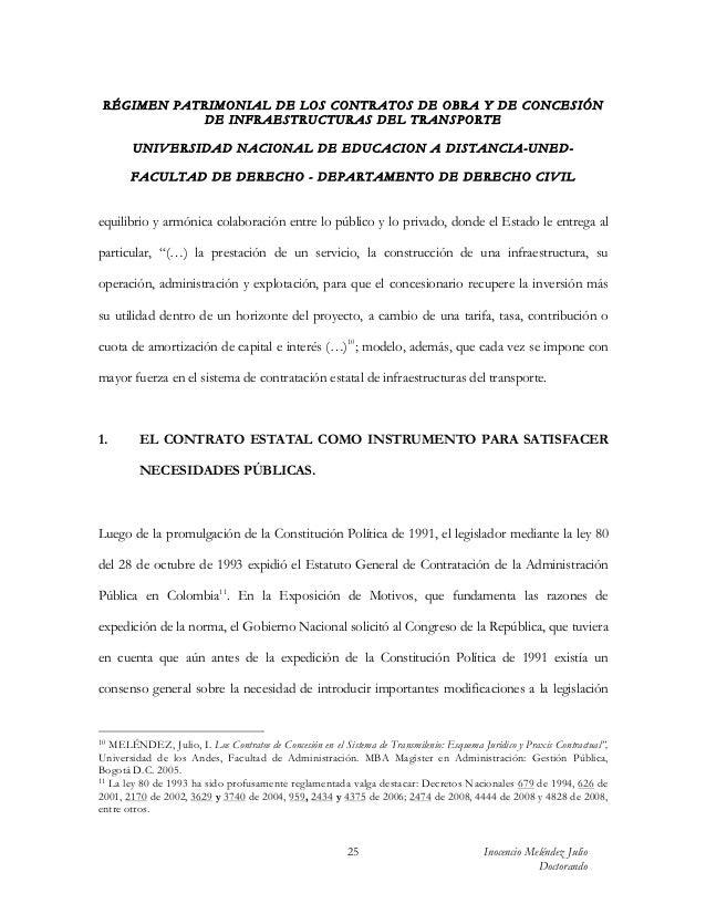 RÉGIMEN PATRIMONIAL DE LOS CONTRATOS DE OBRA Y DE CONCESIÓN            DE INFRAESTRUCTURAS DEL TRANSPORTE        UN IV ERS...
