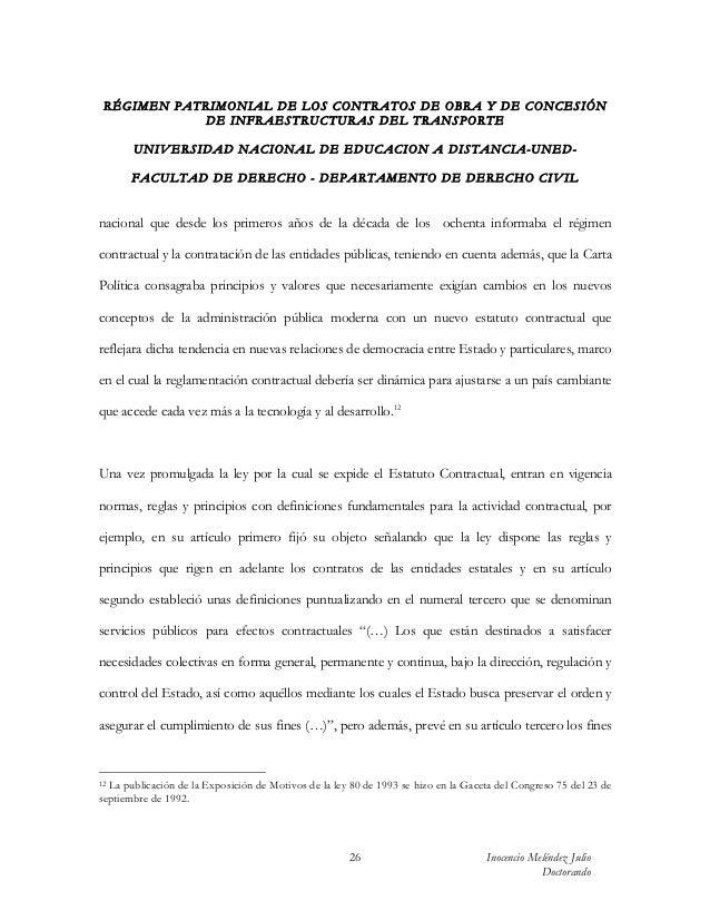 RÉGIMEN PATRIMONIAL DE LOS CONTRATOS DE OBRA Y DE CONCESIÓN            DE INFRAESTRUCTURAS DEL TRANSPORTE       UN IV ERSI...