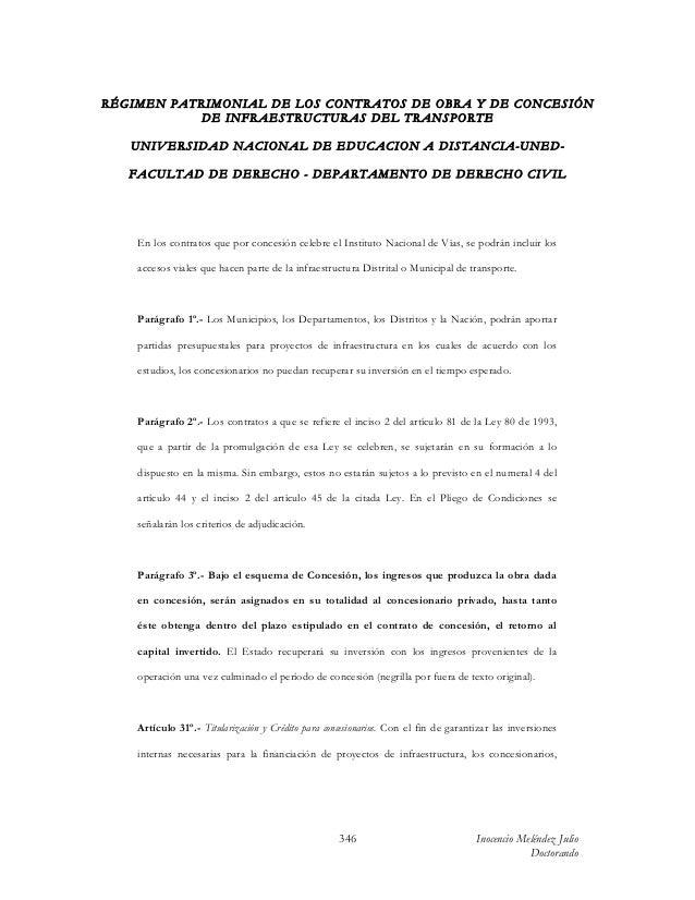 Contenido patrimonial de las obligaciones especiales del contratista estatal de obra pública y de concesión de infraestr...