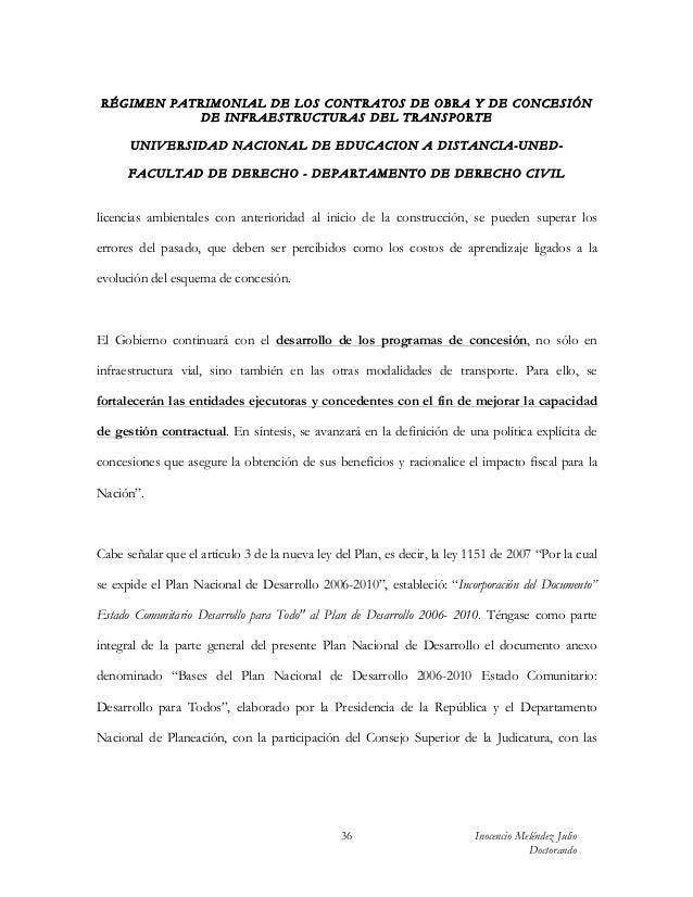 RÉGIMEN PATRIMONIAL DE LOS CONTRATOS DE OBRA Y DE CONCESIÓN           DE INFRAESTRUCTURAS DEL TRANSPORTE      UN IV ERSIDA...