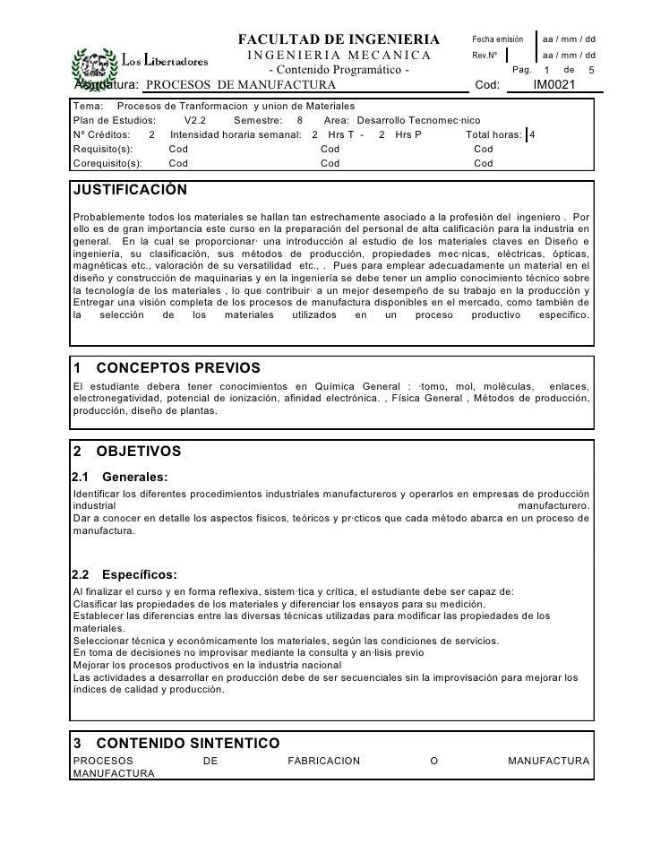 FACULTAD DE INGENIERIA                            Fecha emisión     aa / mm / dd                          INGENIERIA MECAN...