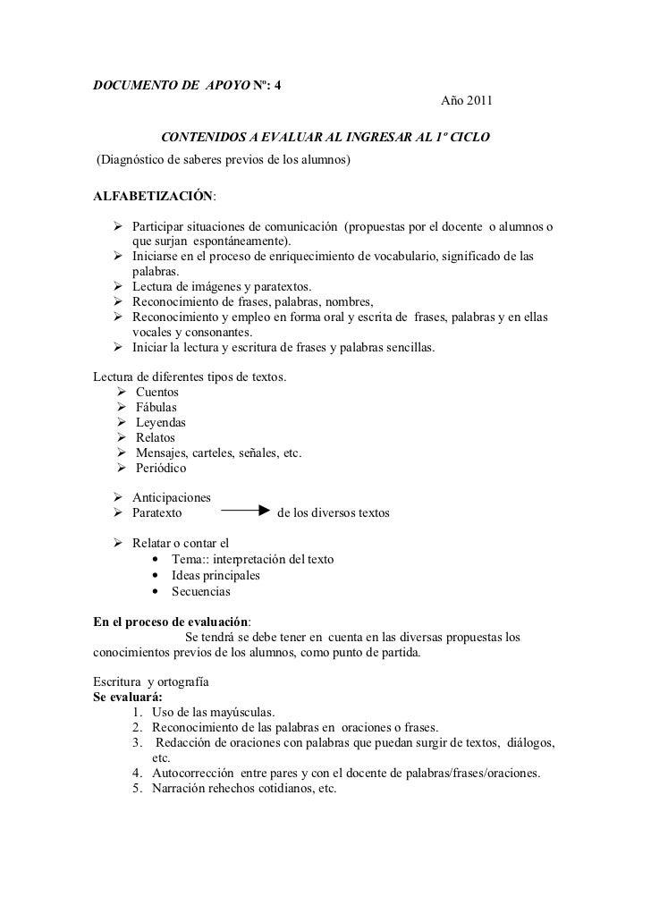 DOCUMENTO DE APOYO Nº: 4                                                                 Año 2011            CONTENIDOS A ...