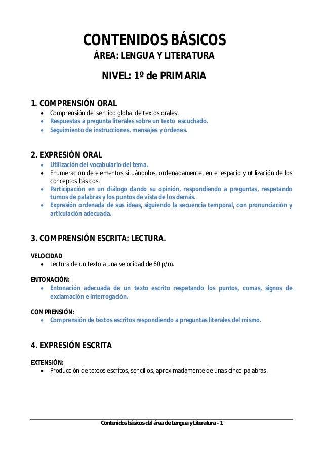 Contenidos básicos del área de Lengua y Literatura - 1 CONTENIDOS BÁSICOS ÁREA: LENGUA Y LITERATURA NIVEL: 1º de PRIMARIA ...