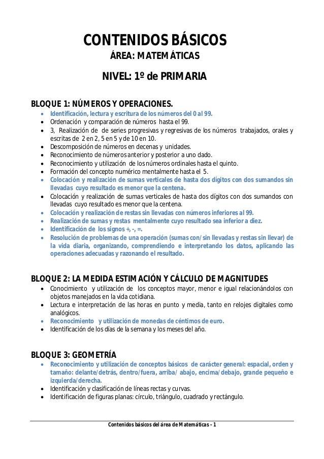 Contenidos básicos del área de Matemáticas - 1 CONTENIDOS BÁSICOS ÁREA: MATEMÁTICAS NIVEL: 1º de PRIMARIA BLOQUE 1: NÚMERO...