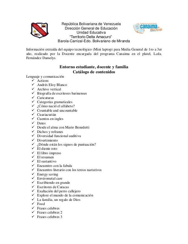 """República Bolivariana de Venezuela Dirección General de Educación Unidad Educativa """"Territorio Delta Amacuro"""" Barola-Carri..."""