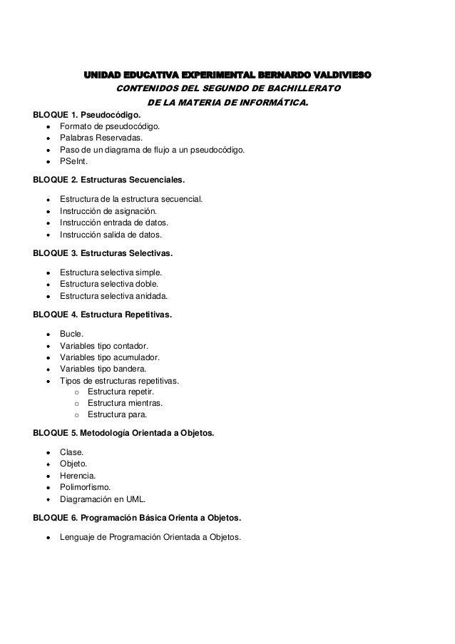 UNIDAD EDUCATIVA EXPERIMENTAL BERNARDO VALDIVIESO                     CONTENIDOS DEL SEGUNDO DE BACHILLERATO              ...