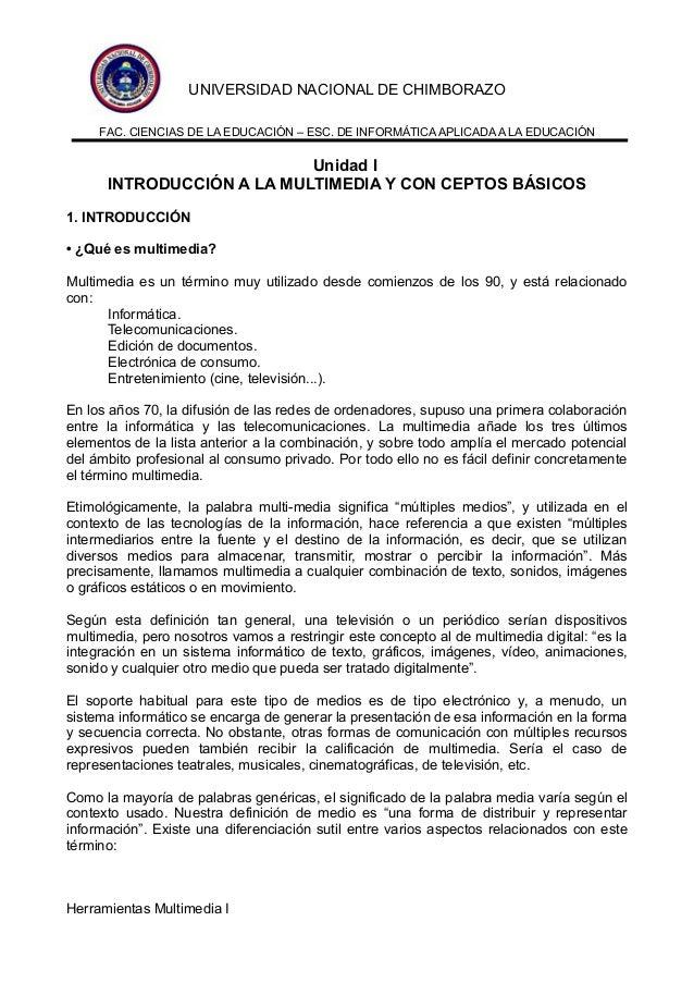 UNIVERSIDAD NACIONAL DE CHIMBORAZO FAC. CIENCIAS DE LA EDUCACIÓN – ESC. DE INFORMÁTICA APLICADA A LA EDUCACIÓN  Unidad I I...