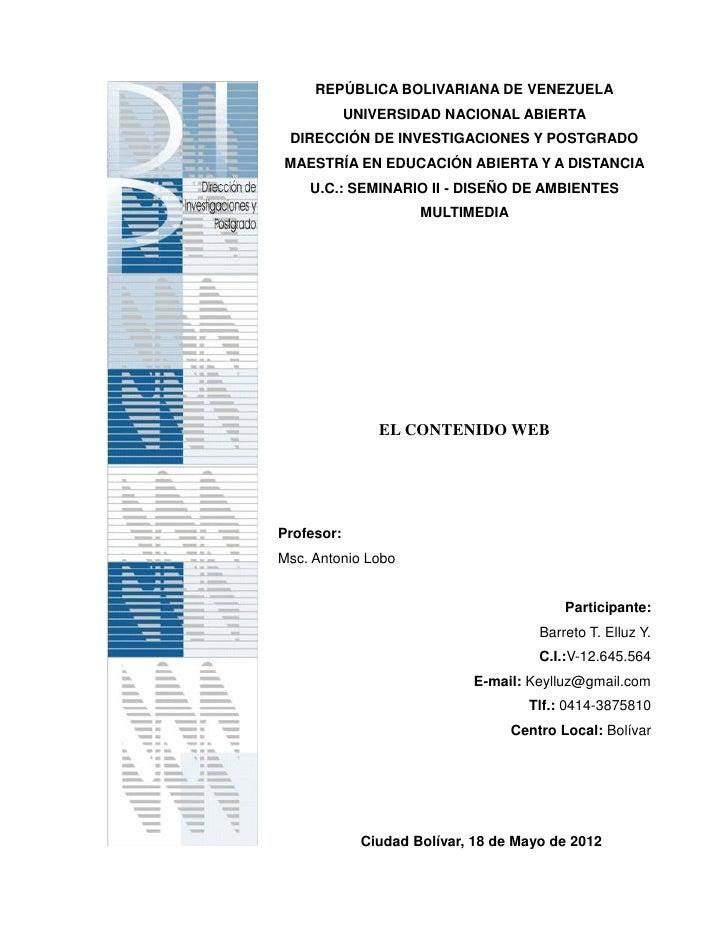 REPÚBLICA BOLIVARIANA DE VENEZUELA            UNIVERSIDAD NACIONAL ABIERTA DIRECCIÓN DE INVESTIGACIONES Y POSTGRADOMAESTRÍ...