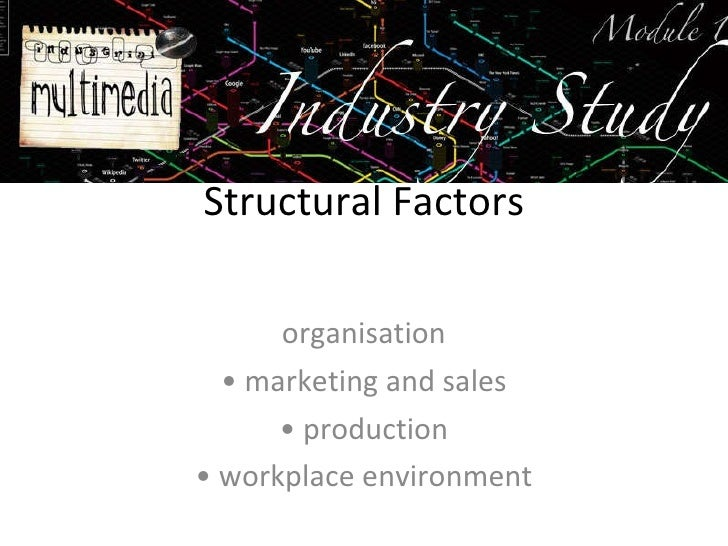 Structural Factors organisation •  marketing and sales •  production •  workplace environment