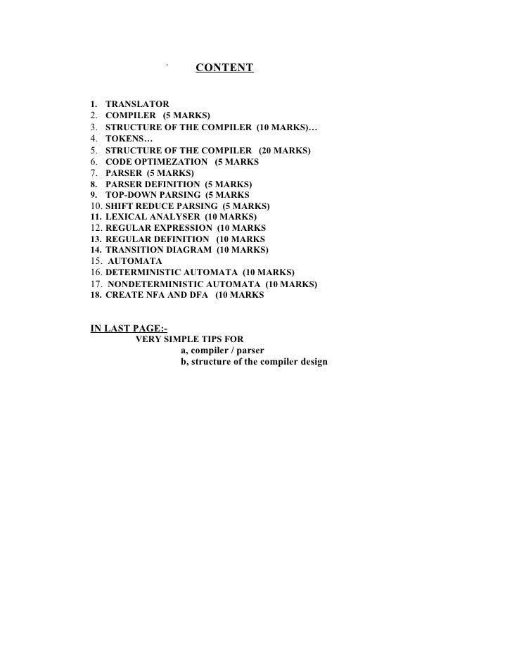 `      CONTENT   1. TRANSLATOR 2. COMPILER (5 MARKS) 3. STRUCTURE OF THE COMPILER (10 MARKS)… 4. TOKENS… 5. STRUCTURE OF T...