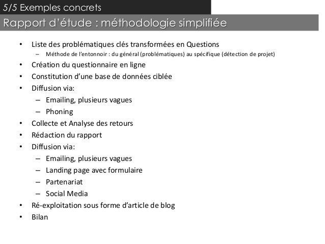 5/5 Exemples concretsRapport d'étude : méthodologie simplifiée   •   Liste des problématiques clés transformées en Questio...