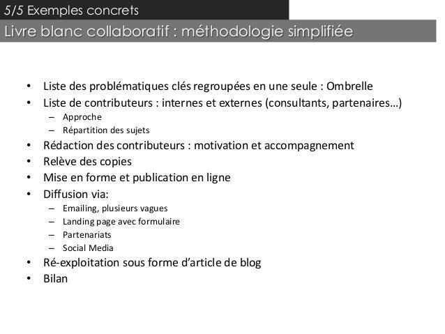 5/5 Exemples concretsLivre blanc collaboratif : méthodologie simplifiée   • Liste des problématiques clés regroupées en un...