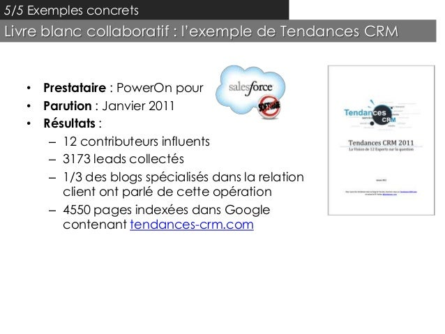 5/5 Exemples concretsLivre blanc collaboratif : l'exemple de Tendances CRM   • Prestataire : PowerOn pour   • Parution : J...