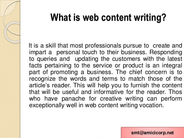 web content writing Create web writing samples for your portfolio through weekly assignments.