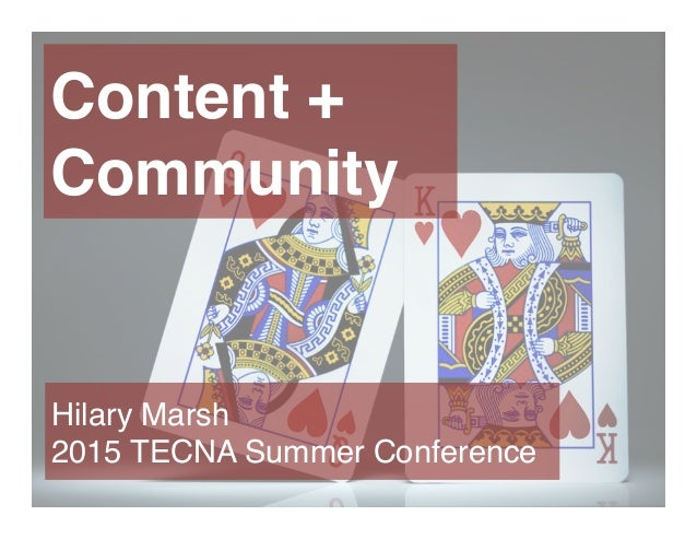Content + Community Hilary Marsh 2015 TECNA Summer Conference