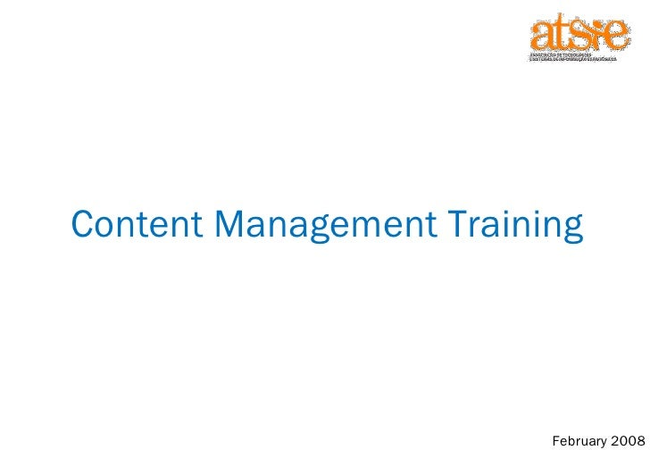 Content Management Training February 2008