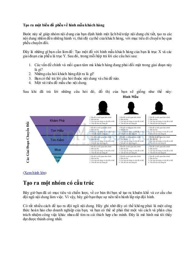 Tạo ra một biểu đồ phễu về hình mẫu khách hàng Bước này sẽ giúp nhóm nội dung của bạn định hình một lịch biên tập nội dung...