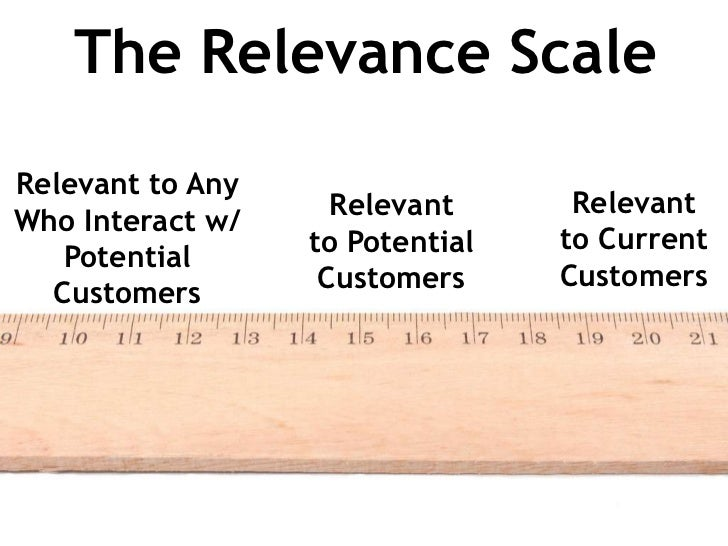 The Relevance ScaleRelevant to Any                    Relevant      RelevantWho Interact w/                  to Potential ...