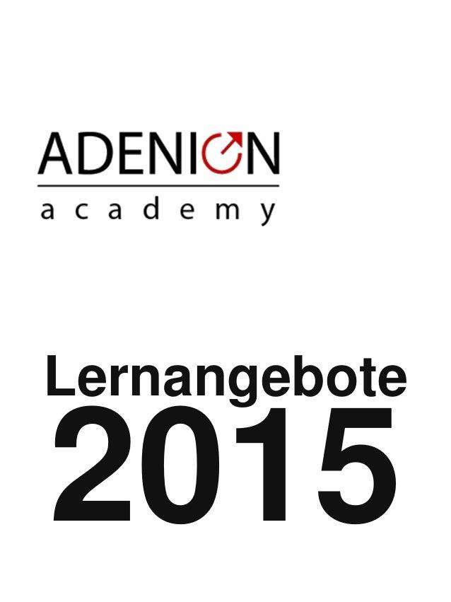 academy.adenion.de/shop  SHOP  Lernangebote 2015