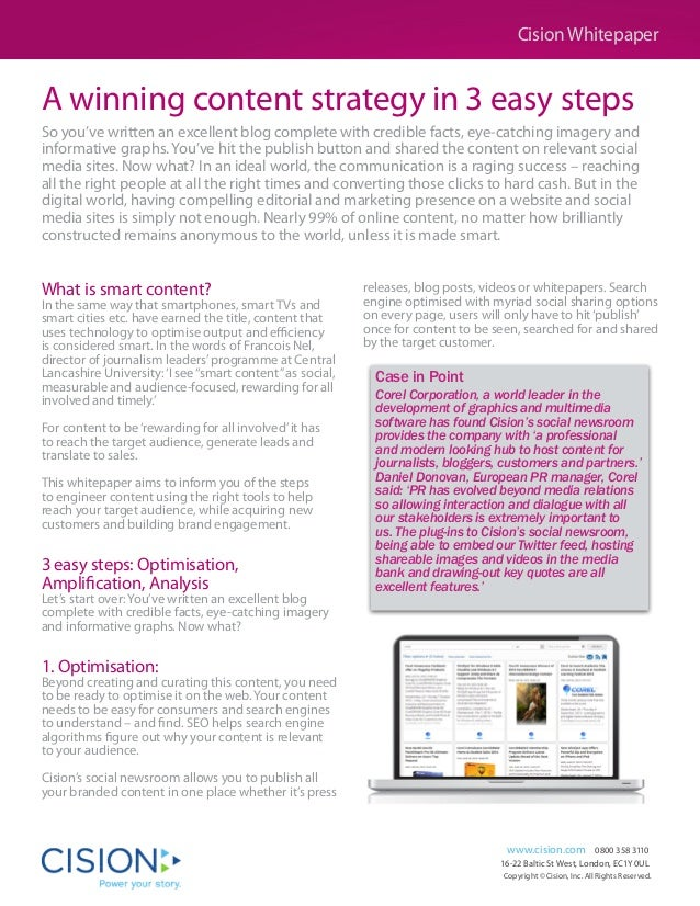Cision Whitepaper  A winning content strategy in 3 easy steps So you've written an excellent blog complete with credible f...