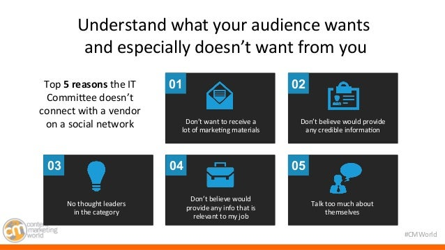 #CMWorld  Understand  what  your  audience  wants  and  especially  doesn't  want  from  you  relevance  Top  5  reasons  ...