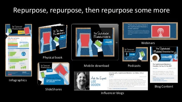 Repurpose,  repurpose,  then  repurpose  some  more  #CMWorld  Infographics  SlideShares  Influencer  blogs  Blog  Content...