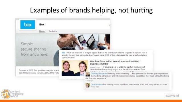 #CMWorld  Examples  of  brands  helping,  not  hur7ng