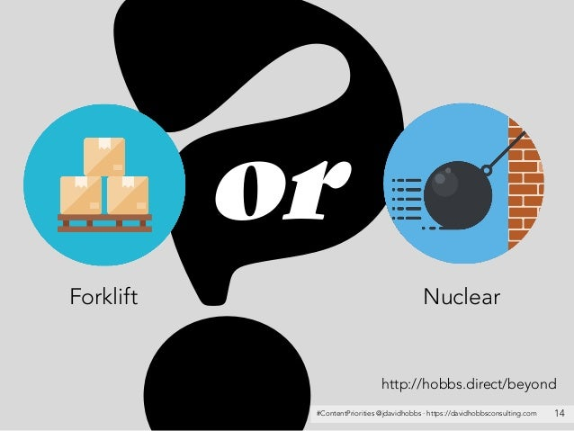 #ContentPriorities @jdavidhobbs · https://davidhobbsconsulting.com 14 Forklift Nuclear or http://hobbs.direct/beyond