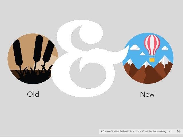 #ContentPriorities @jdavidhobbs · https://davidhobbsconsulting.com 16 Old New