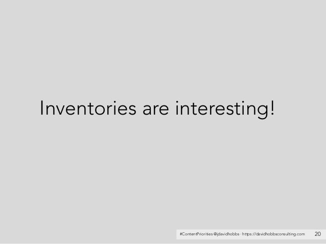 #ContentPriorities @jdavidhobbs · https://davidhobbsconsulting.com Inventories are interesting! 20